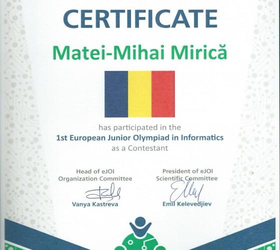 Diploma participare EJOI 2017 Sofia