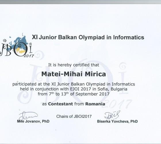 Diploma participare JBOI 2017 Sofia-1