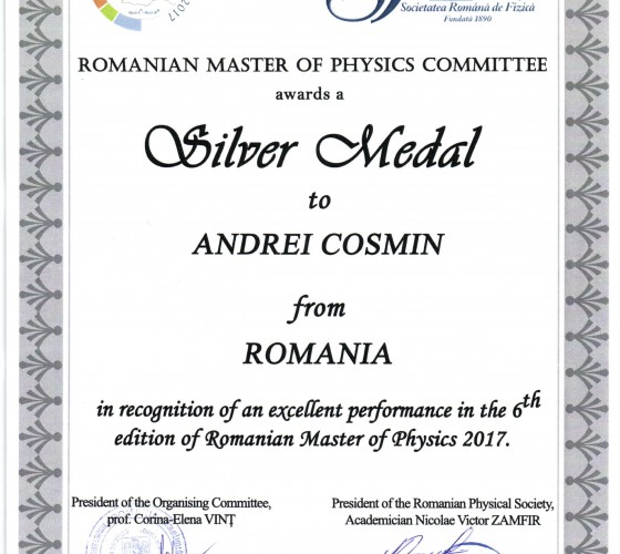 Romanian Master of Physics 2017_ Argint