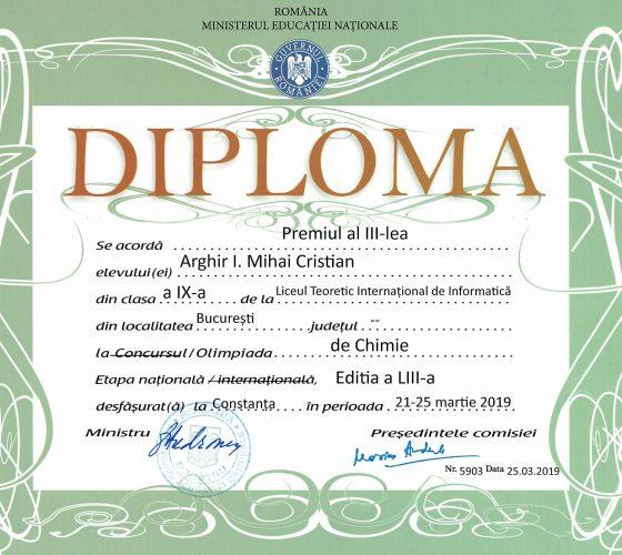 Arghir Mircea ONCh Premiul III