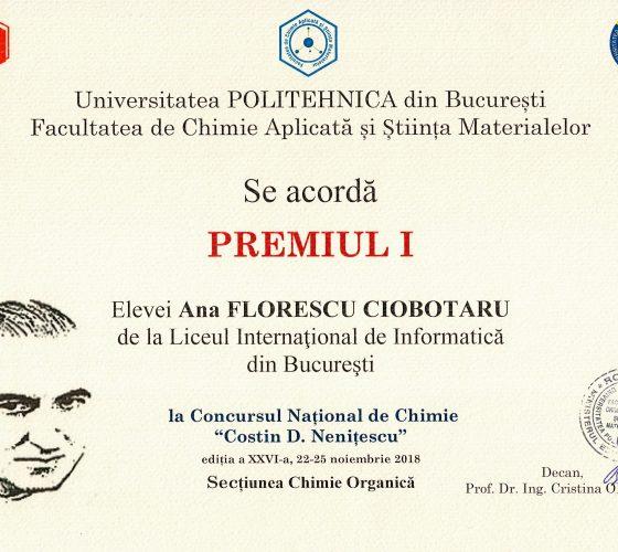 Ciobotaru Florescu Ana CD Nenitescu Premiul I