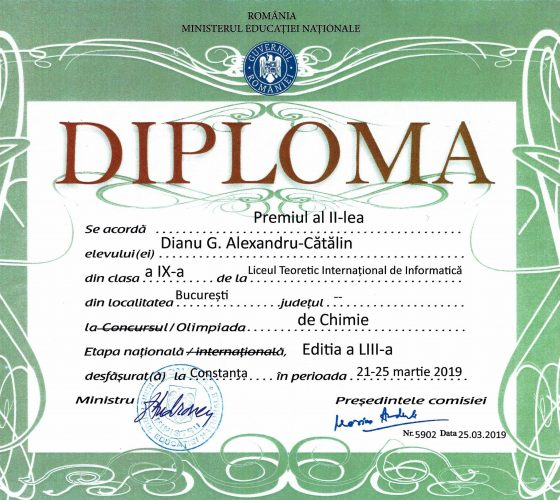 Dianu Alexandru Catalin ONCh Premiul II