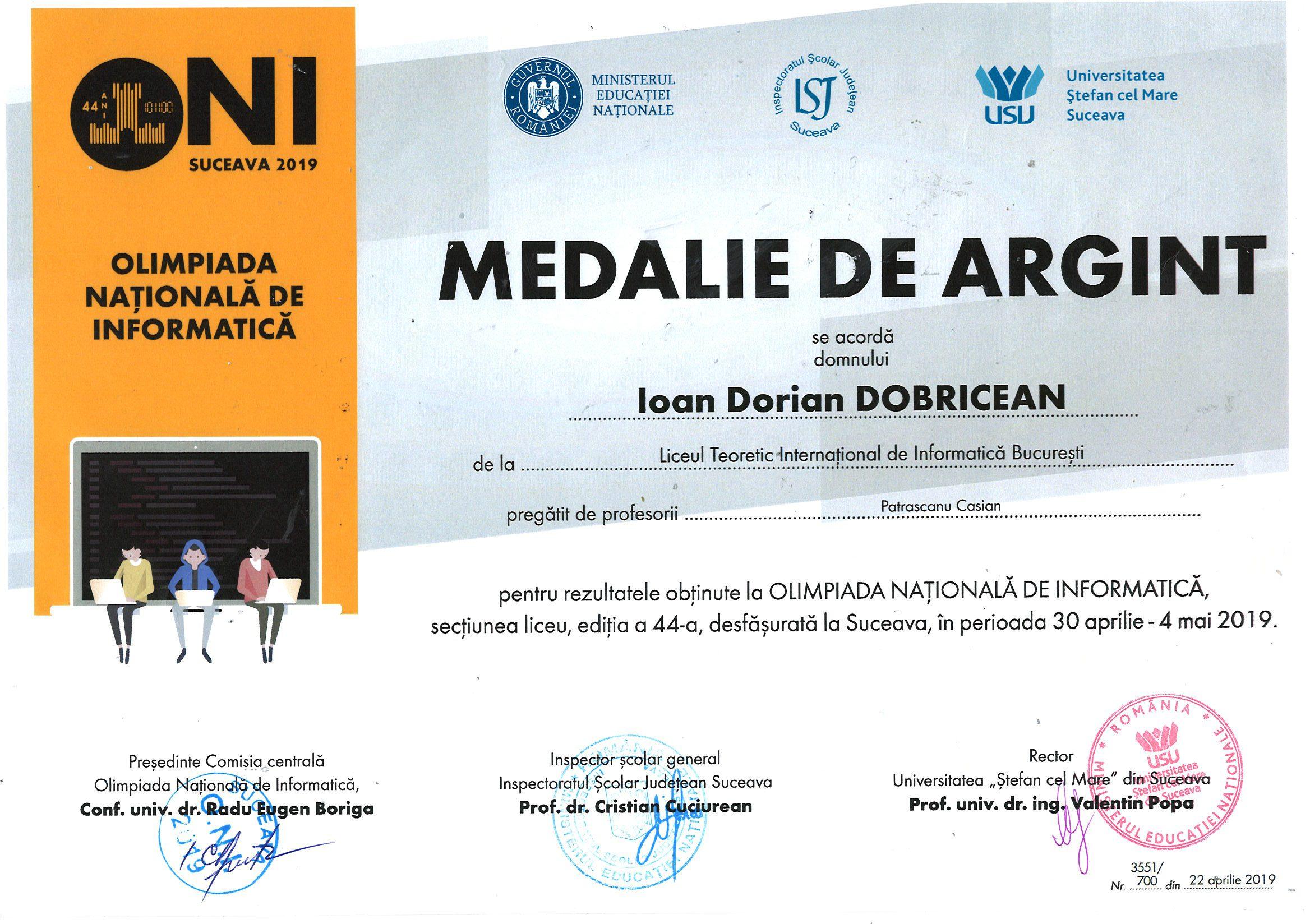 Dobricicean Ioan Dorian ONI_Argint