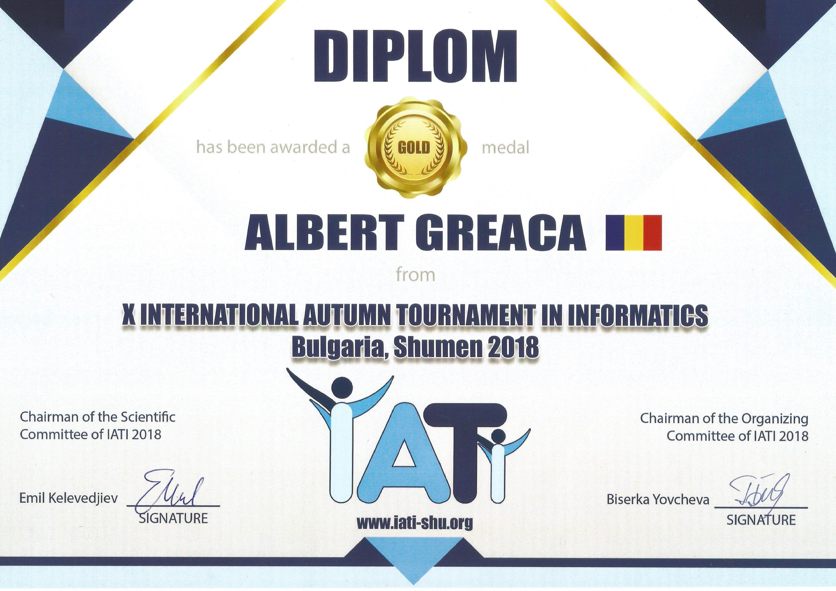Greaca Albert Diploma Shumen 2018 Gold medal